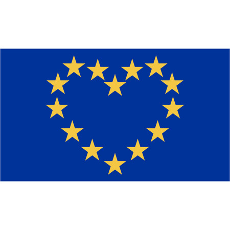 european culture: flag I love Europe, yellow star located along the contour of a heart on a blue background, I love the European Union, vector illustration for website design or print