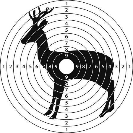 shooting target roe deer for shooting range, vector illustration for print or website design