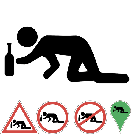 Icon a drunk man crawling on his knees for a bottle of alcohol, prohibition sign, a pointer, permits, warning signs, Vector illustration for print or website design.