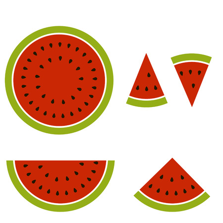 Cartoon image split into pieces watermelon, vector illustration for print or website design