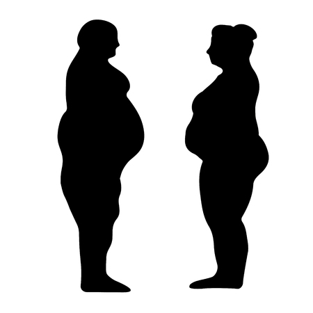 silhouette outline of a fat men and women, the concept of weight loss, slimming, vector illustration for print or website desig