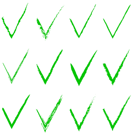 off the hook: checkmark Green Approval Hand Drawn Sign Vector Set