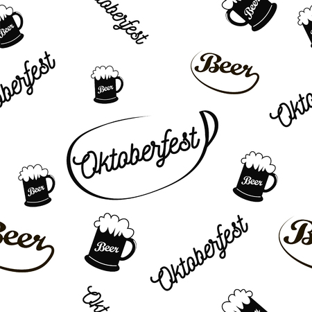 lederhosen: Oktoberfest seamless pattern, simple image of a glass of foamy beer, calligraphic words Oktoberfest and Beer located at a different angle and scale, vector illustration for print or website design