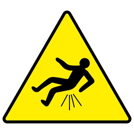 Attenzione si può cadere butthurt, cartello giallo con l'uomo che cade, trauma, illustrazione vettoriale per la stampa o progettazione di siti web