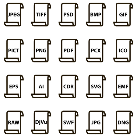 Set icons of document file formats raster and vector graphics. Vector illustration for print or website design Ilustracja