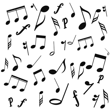musical symbols, musical notes, treble clef, vector, on a white background. vector illustration pattern for website design or print