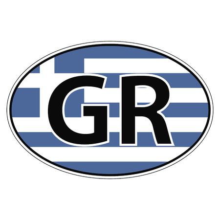 Aufkleber auf dem Auto Oval, Ellipse, Flagge Griechenland mit der Aufschrift GR Vektor für den Druck oder Website-Design für Sprache Tasten