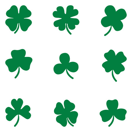 three leaf: Clover Shamrock leaves vector set isolated on white background. Silhouettes of four and three leaf clover. Lucky leaf clover in flat style.
