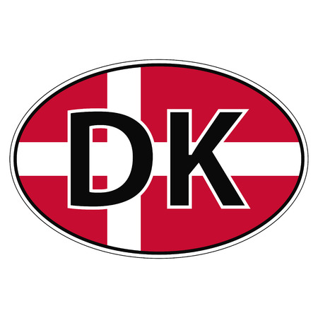 Sticker on car, flag of Denmark with the inscription DK vector for print or website design for language buttons