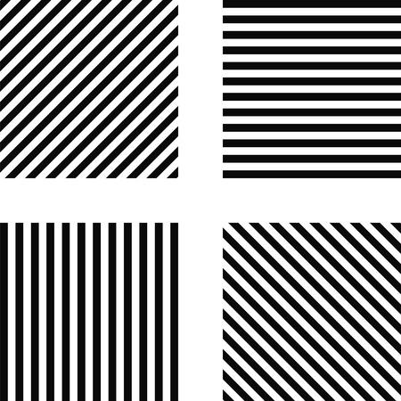 diagonal  square: Striped square pattern - horizontal stripes, vertical stripes, diagonal stripes in the square, for print or design Illustration