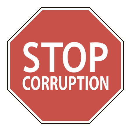 corruption: Sign stop corruption, octagonal road sign calling to stop corruption, vector illustration for print or website design Illustration