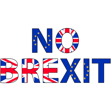 withdrawal: No brexit, the inscription of the flags of the UK and EU against the concept of a British exit from the European Union, vector for print or website design