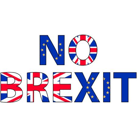 bandera de gran bretaña: Sin brexit, la inscripción de las banderas del Reino Unido y de la UE contra el concepto de una salida británica de la Unión Europea, el vector para la impresión o diseño de páginas web Vectores