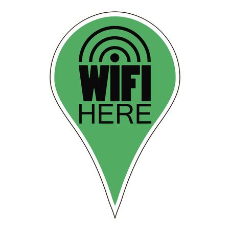 wifi access: Pointer Wi-Fi  - wireless Internet access labeled wifi  here, vector for print or design Illustration
