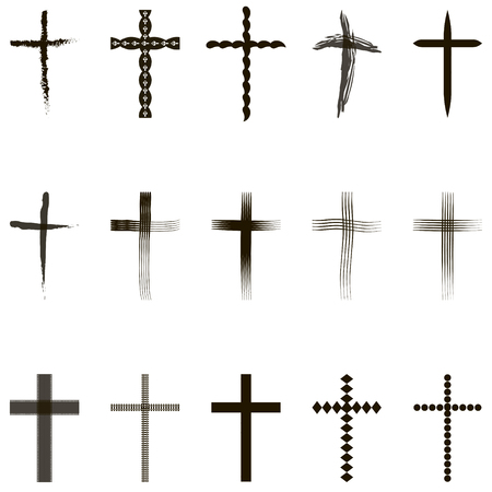 christian crosses: Set crosses, Christian crosses collection, vector for print or website design