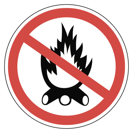 forewarning: Sign campfires are prohibited, anti fire sign, vector for print or website design Illustration