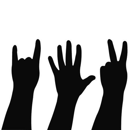 Vector illustrations of silhouettes set of hands showing different gestures for print or design