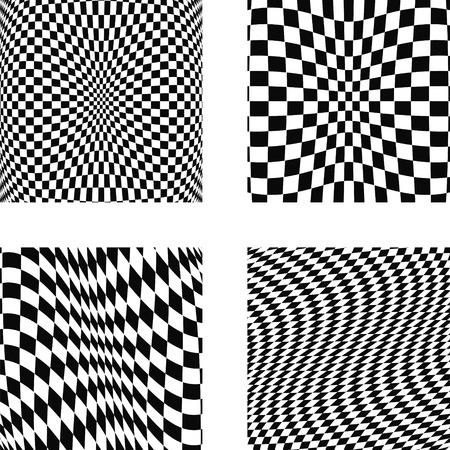 latticed: Set volumetric illusions with square mesh 3D geometric latticed textures. Design elements set. Vector art.