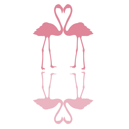 Two pink flamingos, necks form a heart, with shadows , vector for print or design