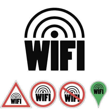 set of signs and symbols Wi-Fi -indicates the sign prohibiting authorizing the wifi sign vector for print or design