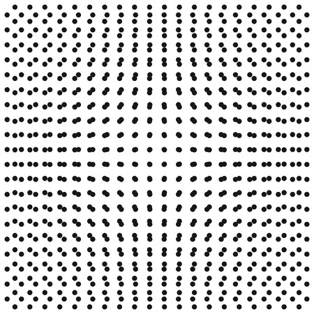 convexity: pattern of black dots with the effect of convexity on white 3D and vector illustration for print or design