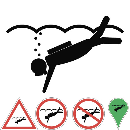 Diving , scuba diving illustration of signs are prohibited, danger, attention, a place for diving, vector for print or design