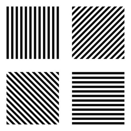 Striped square - horizontal stripes, vertical stripes, diagonal stripes in the square, for print or design Иллюстрация