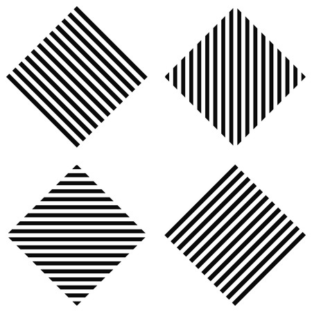 striped rhombus - horizontal stripes, vertical stripes, diagonal stripes in the square, for print or design Illustration