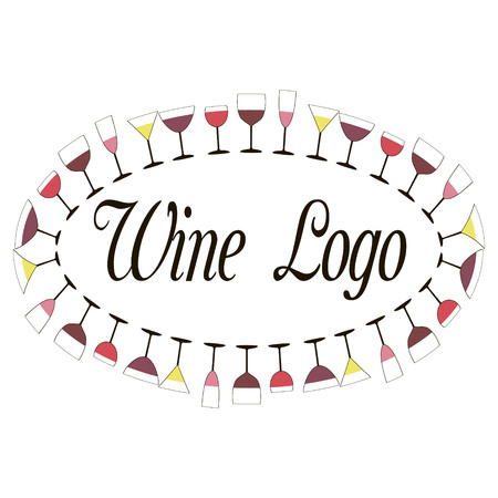perimeter: Wine  wine glasses are located on the perimeter of the oval, vector for print or design