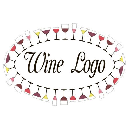 verres à vin de vin sont situés sur le périmètre de l'ovale, vecteur pour l'impression ou la conception