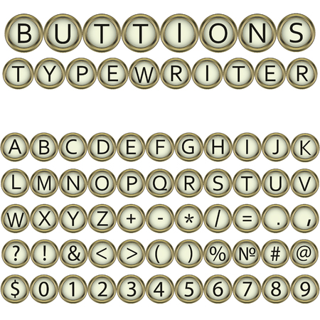 old typewriter: buttons typewriter font Vector vintage typewriter buttons - alphabet. Isolated on black background. Letterkey of old typewriter. Eps 10.