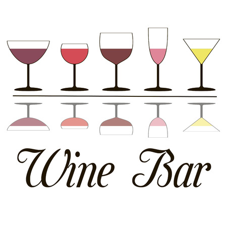 Wine Bar Glasses of wine, empty, filled with white and pink drinks. Wine glasses with wine poured for level and kalligrafichnoy inscription wine list, vector for design or printing