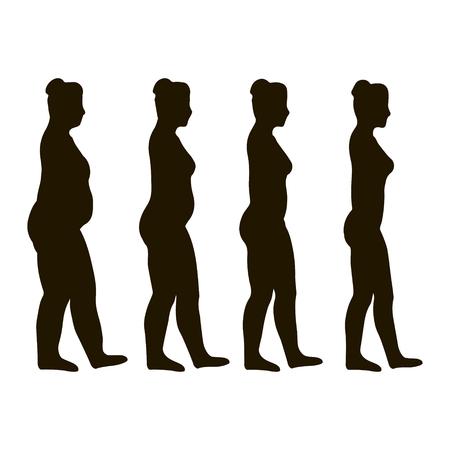 donne obese: perdita exercise.weight. donne obese a perdere peso per fare jogging. concetto cura. vettore, icone piatta progettazione, illustrazione medica