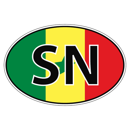 car flag: Sticker on car, flag republic  senegal with the inscription SN vector for print or website design for language buttons