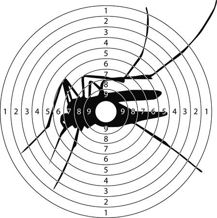 disparando corazón virus Zika objetivo para el campo de tiro de armas pequeñas hechas en el vector
