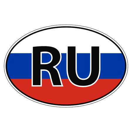Sticker on car, flag of Russia with the inscription RU vector for print or website design for language buttons Illustration