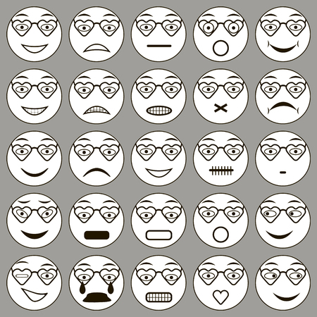 bespectacled: heart glasses Smiley: vector set of varied people face glasses, expression emotions, Hipster heart glasses. Summer heart glasses vector illustration. Heart sunglasses isolated vector illustration
