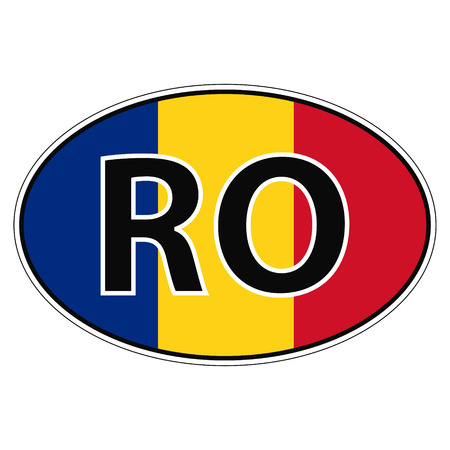 rumania: Sticker on car, flag Romania, Rumania, Roumaniawith the inscription RO vector for print or website design for language buttons Illustration