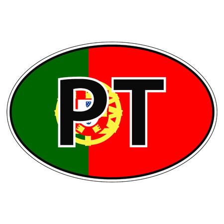 bandera de portugal: Sticker on car, flag Portugal the inscription PT vector for print or website design for language buttons