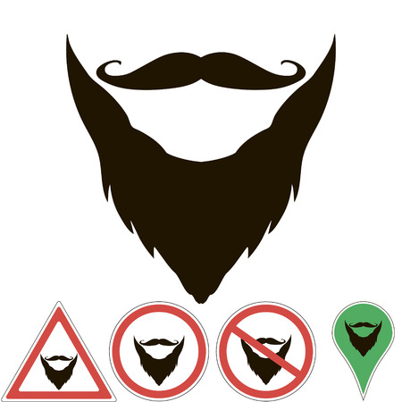 burly: mustache and beard are sign, pointer, prohibition mustache and beard, for print or design