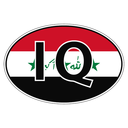 car flag: Sticker on car, flag Republic Iraq with the inscription RQ vector for print or website design for language buttons Illustration