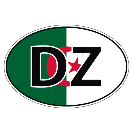 car flag: Sticker on car, flag Algerian Republic Algeria with the inscription DZ vector for print or website design for language buttons