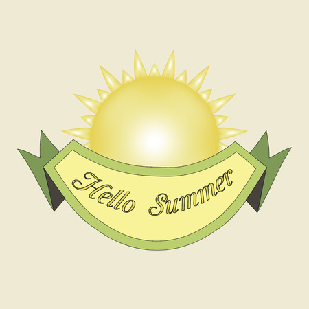 Hello summer inscription. Greeting card with calligraphy. Hand drawn lettering. Typography for invitation, banner, poster or clothing design. Vector quote.