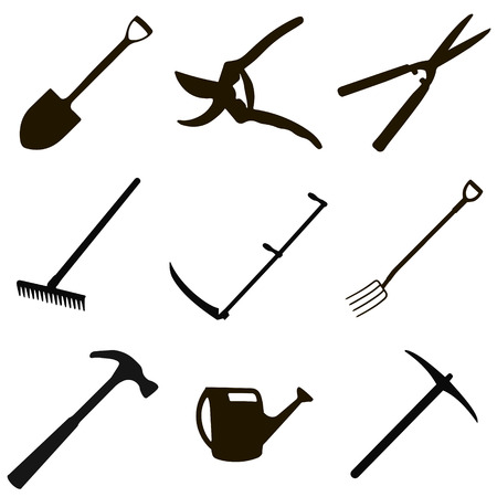 crop sprayer: gardening tool set - spade, secateurs, garden shears, rake, scythe for grass, garden forks, hammer, hose, hoe, in vector for print or design Illustration