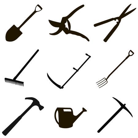 gardening tool set - spade, secateurs, garden shears, rake, scythe for grass, garden forks, hammer, hose, hoe, in vector for print or design Illustration