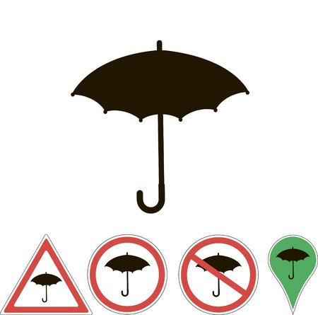 white pointer: signs umbrella on white pointer