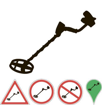 metal detector sign on a white Illustration