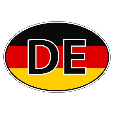 자동차에 스티커, 비문 DE와 독일, 독일, 독일의 국기 인쇄 또는 웹 사이트 디자인 언어 버튼에 대 한 벡터