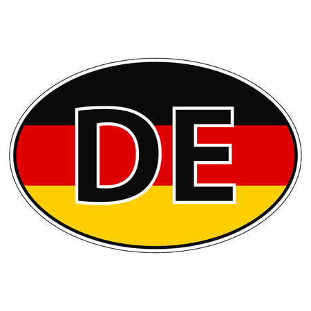 car flag: Sticker on car, flag of Germany, Germania, Deutschland with the inscription DE vector for print or website design for language buttons