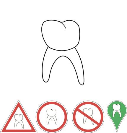white pointer: sign tooth on white pointer